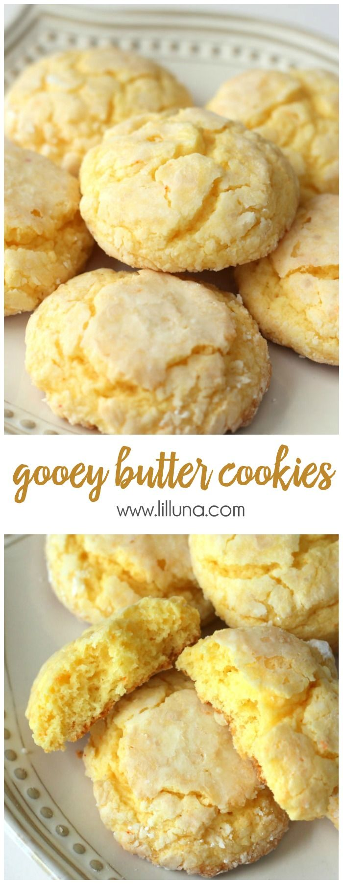 Ooey Gooey Butter Cookies - one of our favorite treats! They're made with cake mix, butter and cream cheese and are always a hit!