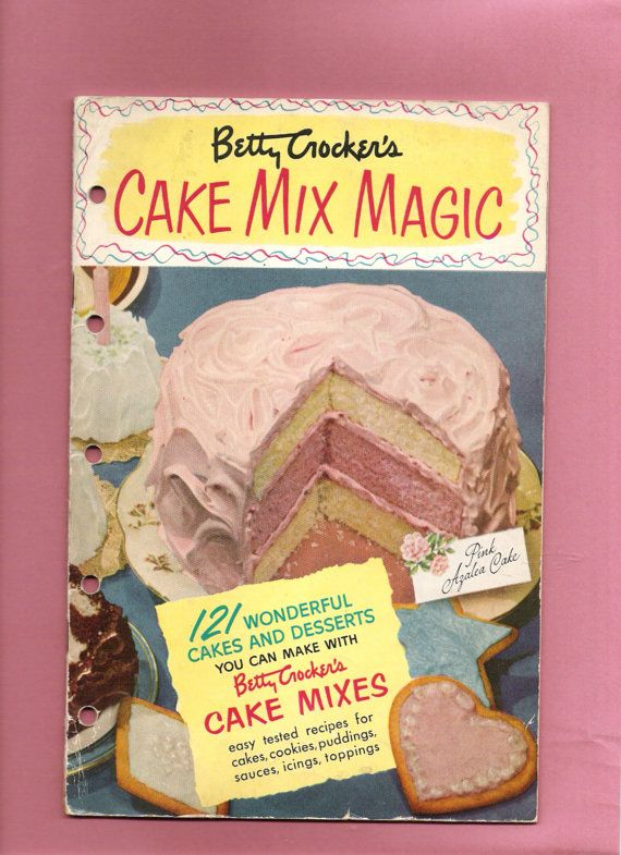 Betty Crocker - Vintage 1951 Pink Cake Mix Magic Recipe Cookbook Pamphlet Booklet Desserts Cookies Toppings Sauces Book