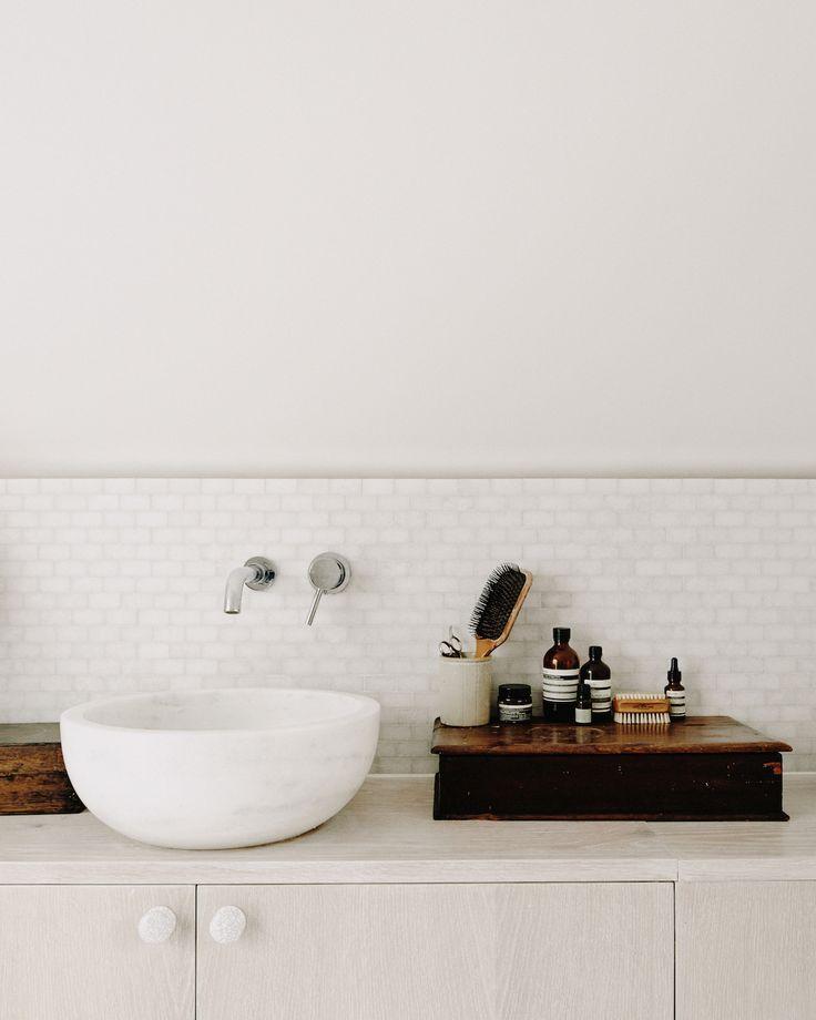 bathroom style   white tiles   sink ideas