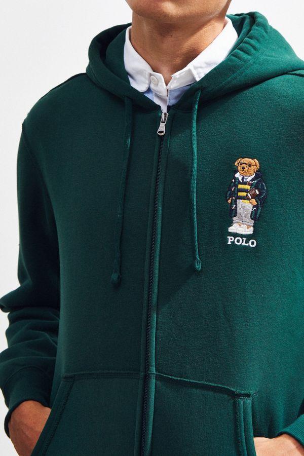 Polo Ralph Lauren Embroidered Bear Zip Up Hoodie Sweatshirt