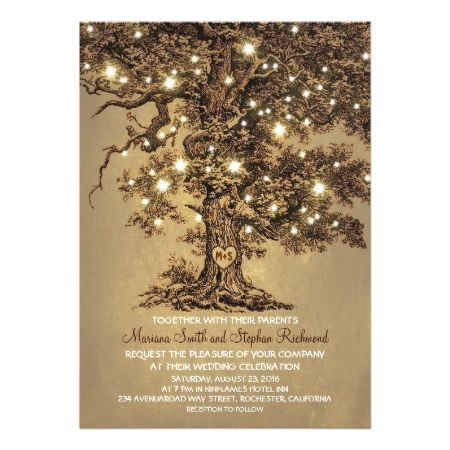 Vintage String Lights Tree Rustic Country Wedding Card - tap to personalize and get yours