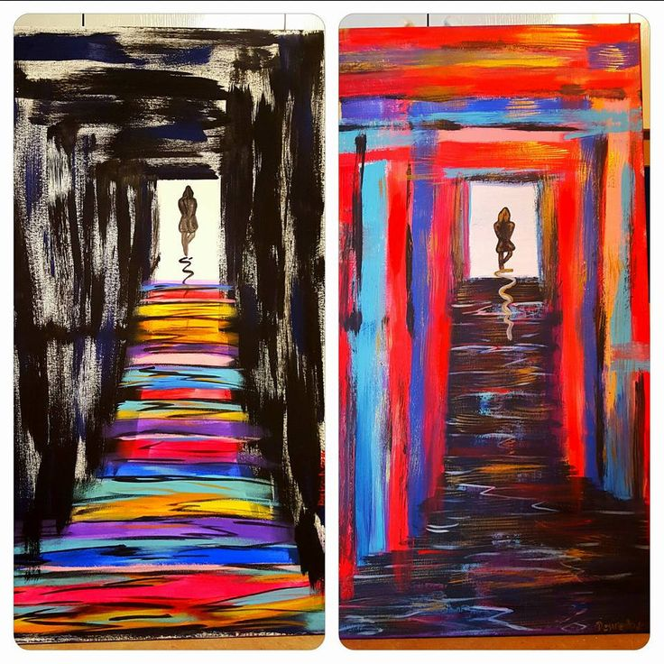 The Twins - Portals in Ying/yang - (2 paintings) by TrashPandaUpcycling on Etsy