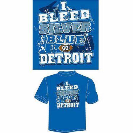 Detroit Football I Bleed Silver and Blue, Go Detroit T-Shirt, Blue, Men's, Size: Medium