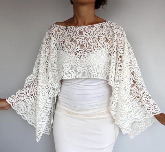 Cotton lace wedding cape ivory lace wedding bolero plus