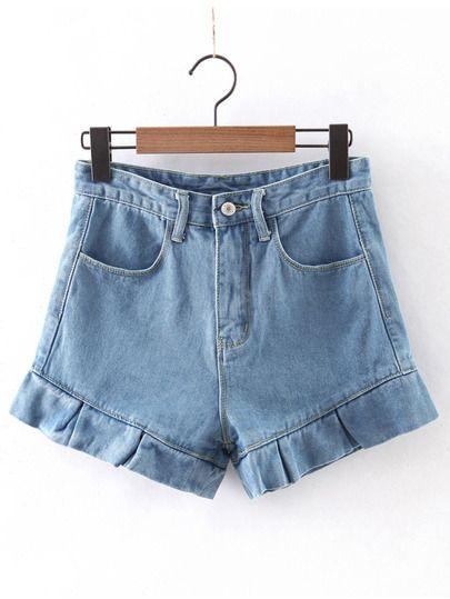 Light Blue Ruffle Hem Pockets Zipper Shorts.