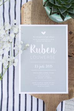 Jade groen geboortekaartje van Ruben, A5-formaat. Ontwerp door Leesign - www.leesign.nl #leesign #geboortekaartje #jade #jongen #boybirthannouncement #birthannouncement