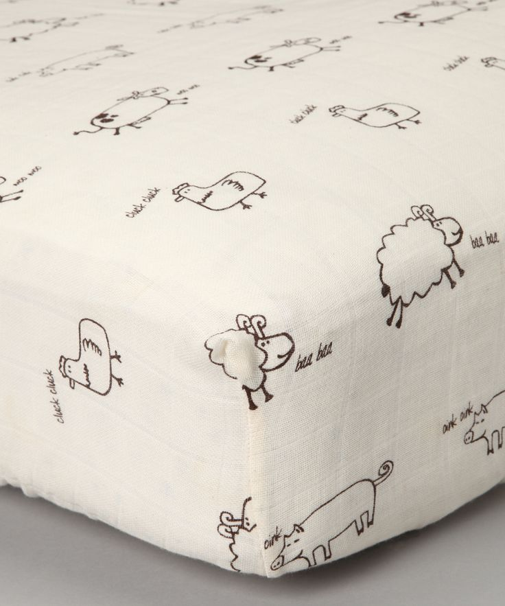 Natural Farm Animal Organic Muslin Crib Sheet | Daily deals for moms, babies and kids