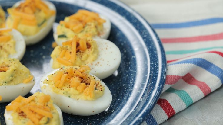 Tex-Mex Deviled Eggs: Chili powder, jalapeños, and cheddar cheese combine for a spicy Texas-twist on this iconic Southern appetizer.