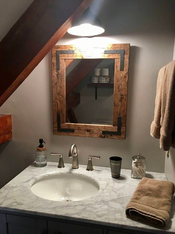 Rustic Distressed Handmade Mirror Country Mirror Framed Etsy