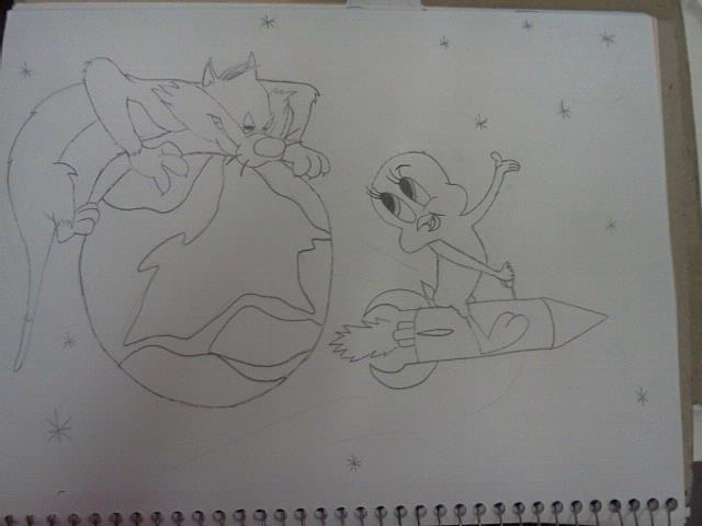 a reincorporated sketch i did of tweety bird and the cat