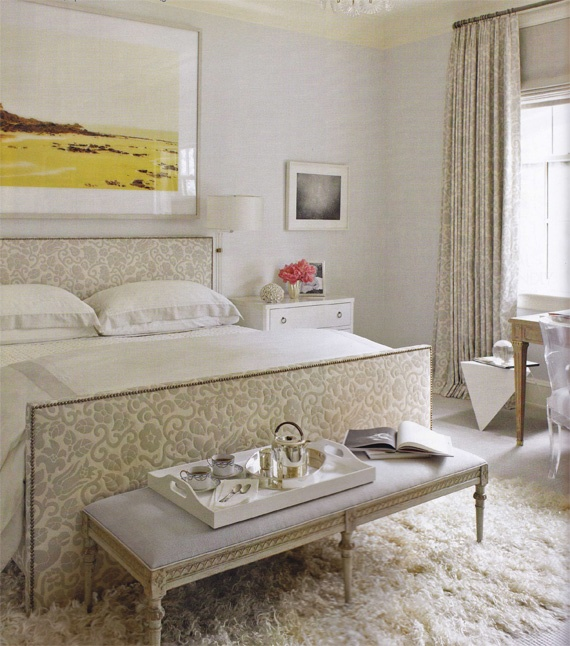 I like this. A little traditional, a little modern, but very interesting. I like the clean lines of the bed juxtaposed with the floral fabric and the whimsy of the flokati rug.