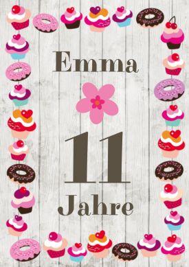 Trendy Einladungskarte Zum 11. Geburtstag Für Mädchen Mit U201esüßemu201c Rahmen  Aus Cupcakes Und