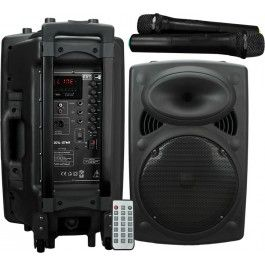 Self-contained portable PA unit. Built-in amplifier operating from mains or internal rechargeable battery powering a main driver and compression driven horn unit. A pair of VHF handheld wireless microphones are included with the receiver built into the mixer/amp section at the rear along with 2 further microphone inputs
