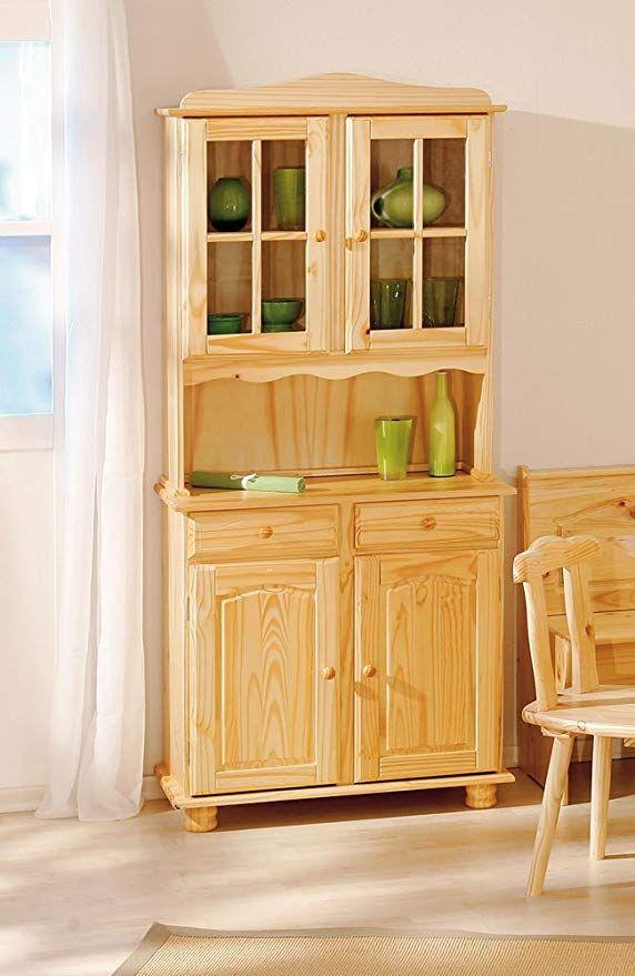 inter link alpine living buffet vitrinenschrank kuchenschrank geschirrschrank esszimmerschrank kiefer massivholz natur lackiert