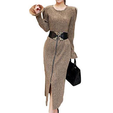 Feminino+Conjunto+Saia+Suits+Tamanhos+Grandes+Simples+/+Sofisticado+Primavera+/+Inverno,Sólido+Marrom+/+Cinza+Algodão+Decote+RedondoManga+–+BRL+R$+296,93