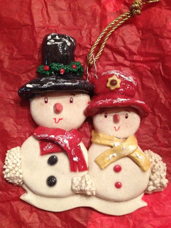 Salt Dough Snowman Couple