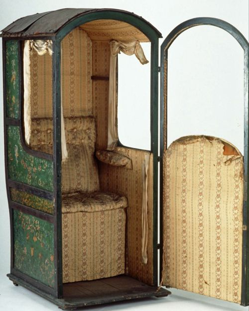 """Sedan Chair.   Longest recorded journey made by Princess Amelia, youngest daughter of King George III in 1728 when carried by 8 chairmen working in reliefs from London to Bath, distance of 172 kms (107 miles). This chair door lock features  initials """"V.F."""" and set of crossed keys with wording """"PARIS"""" and number """"34"""".    powerhousemuseum.com suzilove.com"""