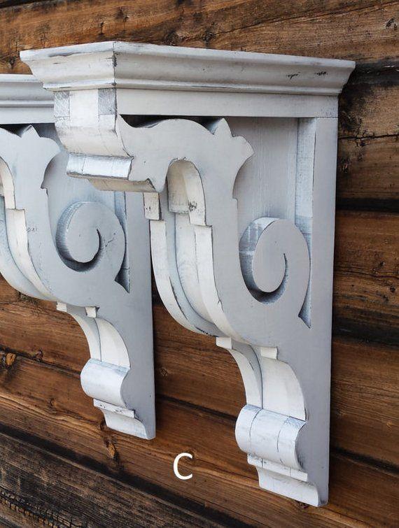 Corbels C Large Wood Vintage Look 145 Pair Rustic White Deco Maison Mobilier De Salon