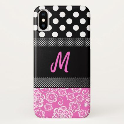 #Stylish Girly Monogram iphone X Case - #floral #gifts #flower #flowers