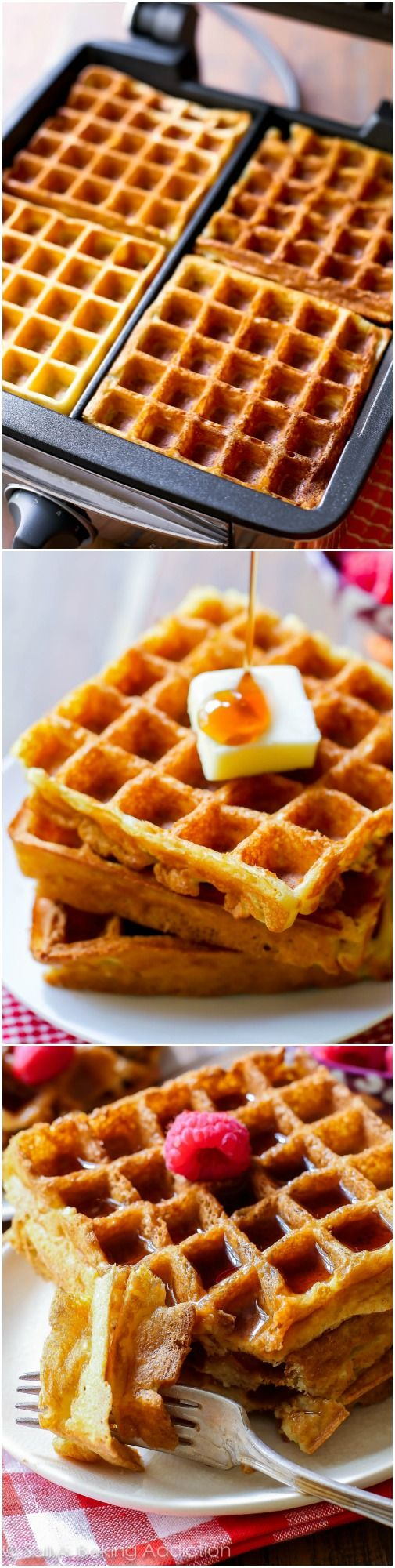 My favorite buttermilk waffles! Delightfully crisp on the outside, light as air on the inside. This is your new favorite recipe for waffles.