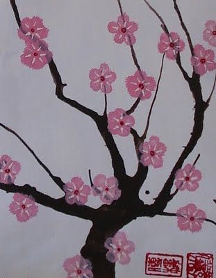 A cherry blossom project originally intended for Grade 7s. I'm thinking the straw painted tree is doable in Kindergarten. Replace the 5 stroke flowers with flower shaped sponges for stamping, and I think this project could work for Kindergarten.