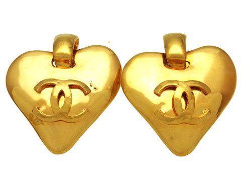 Vintage Chanel earrings CC logo heart dangle