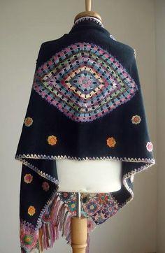 Listado especial para Galina chal negro flores de pore crochetlab