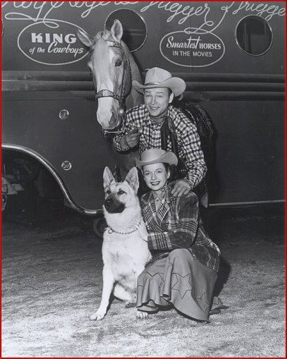 Roy Rogers, King of the Cowboys, Trigger and Dale Evans on tour with family dog, Bullet.