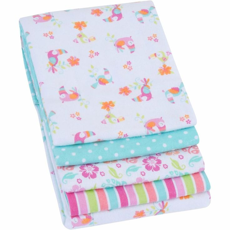 4 Pack Receiving Blanket For Girls Pink Baby 100% Cotton Flannel Swaddling  #Garanimals