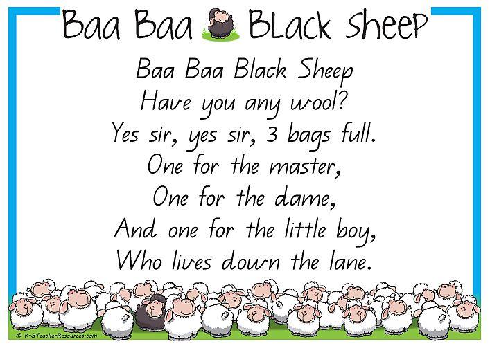 Black Sheep | Baa Baa Black Sheep - Printable Nursery Rhyme - K-3 Teacher Resources