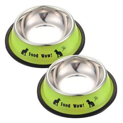 New Arrival Fashion Stainless Steel Anti-skid Dog Cat Food Water Bowl Pet Feeding Tool FULI