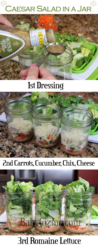I know I've pinned Salad-in-aJar before, but I like how this one is explained. I don't know if I'd include the dressing though. This is a great idea and I really want to try it at some point.