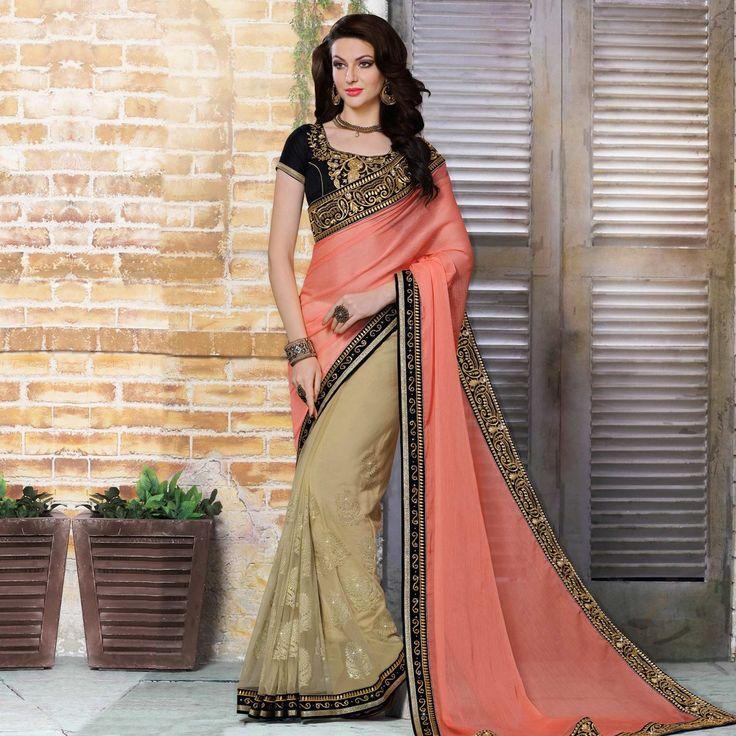 Buy Peach - Beige Half Saree - Online Women Ethnic Wear at Peachmode.com