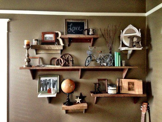 amazingly styled bookshelves! --- Rustic Reclaimed Wood Shelf by ThreeArrowDesign on Etsy, $15.00