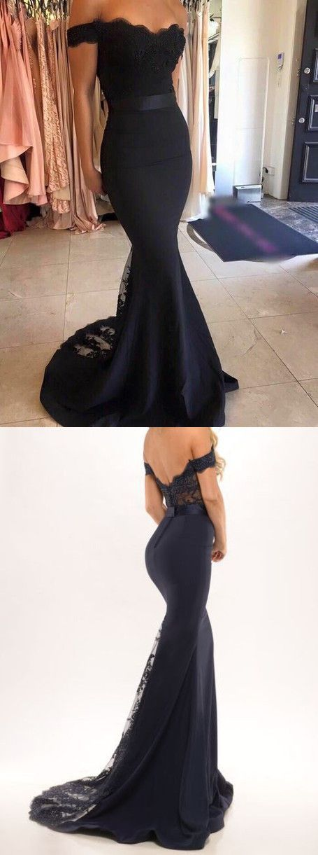 black off the shoulder mermaid long prom dress evening dress homecoming dress bridesmaid dress, long formal evening dress,party dress