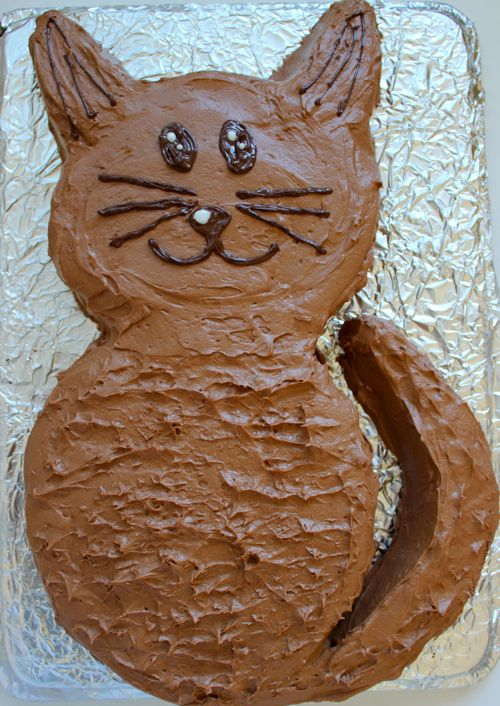 Easy Cat Cake: learn to make an cool cat-shaped cake! Easy and fun project. Find a diagram and instructions here.