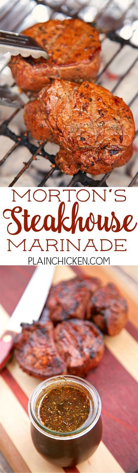 Morton's Steakhouse Marinade - recipe from the famous steakhouse. Garlic, thyme, cayenne pepper, soy sauce, Worcestershire sauce, oil, lime juice, salt and pepper. This makes THE BEST steaks EVER! I cleaned my plate, and I never do that! Seriously, the be