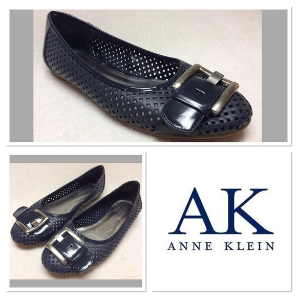 Anne Klein  Blue AK7Briele Cutout Flats  Size 7.5M Very cute, gently worn Anne Klein flats size 7.5M. Features leather upper, manmade balance, buckle detail on toe, with cut out design. These are in great shape. They do show minor wear to the footbed. Perfect for spring and summer! Anne Klein Shoes Flats & Loafers