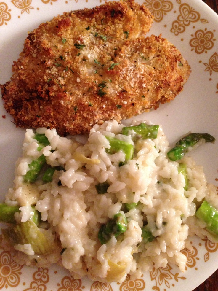 Panko breaded and baked tilapia with asparagus and artichoke risotto !