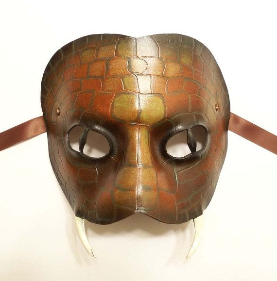 Leather Snake Mask with Fangs and Pupils by teonova on Etsy, $85.00
