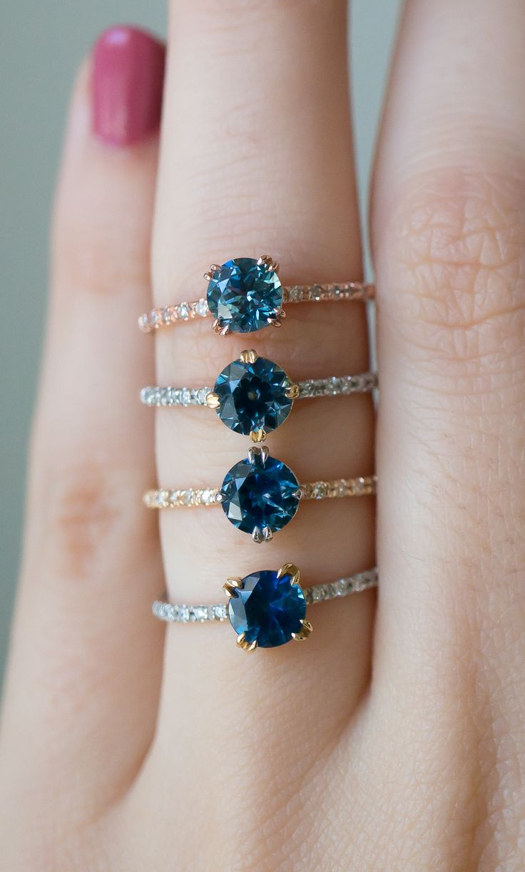 Unique Sapphire engagement rings by S. Kind & CO. with Ethically sourced sapphires from Montana, USA. Stunning!