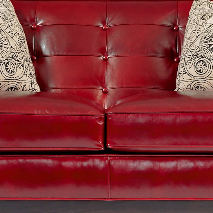 bernhardt interiors piper sofa in dark red leather tight button tufted