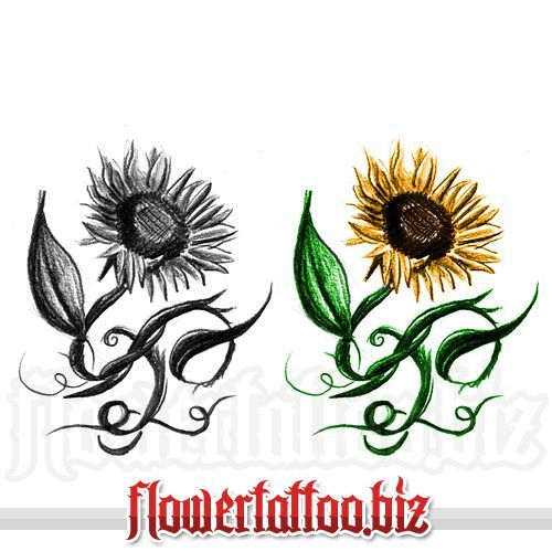sunflower foot tattoos | Tattoo with sunflower and curly stems