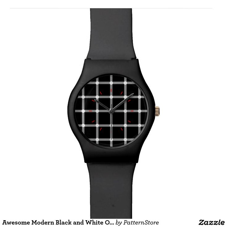 Awesome Modern Black and White Optical Illusion Wristwatch from #PatternStore