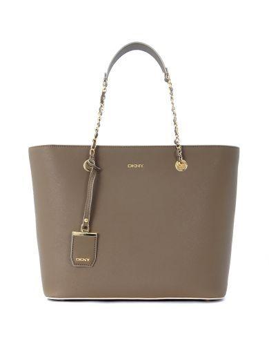 DKNY Borsa Shopping A Spalla Dkny In Pelle Saffiano Beige Sabbia. #dkny #bags #…