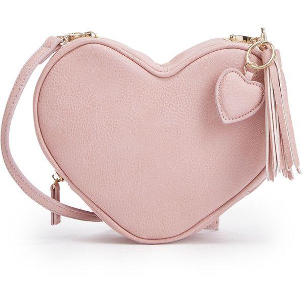 ShoeDazzle Bags Iden Womens Pink found on Polyvore featuring bags, handbags, shoulder bags, pink, wallets & cases, purse shoulder bag, heart handbag, hand bags, shoulder handbags and pink shoulder handbags