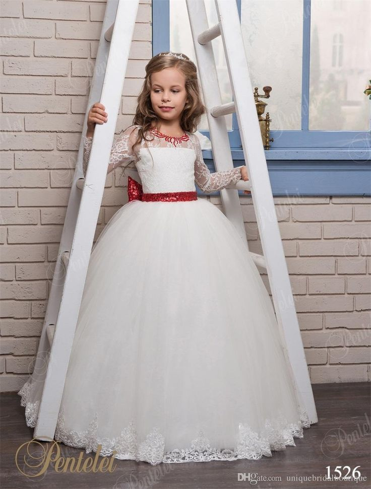 Cute Flower Girls Dresses With Red Sequins Big Bow And Beaded Crew Neck Appliques Tulle Princess Long Sleeves Kids Wedding Gowns Custom Made Pretty Dresses For Girls Toddler Dress Shoes From Uniquebridalboutique, $76.89| Dhgate.Com