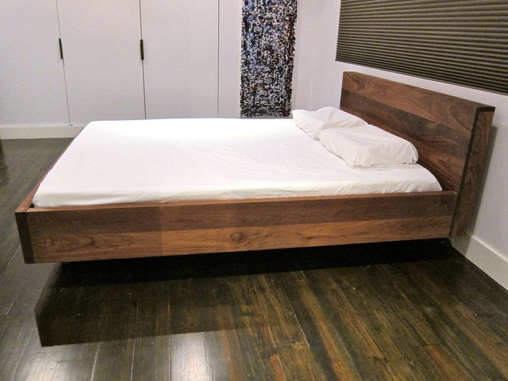 17 best ideas about floating bed frame on pinterest bed for Floating bed frame