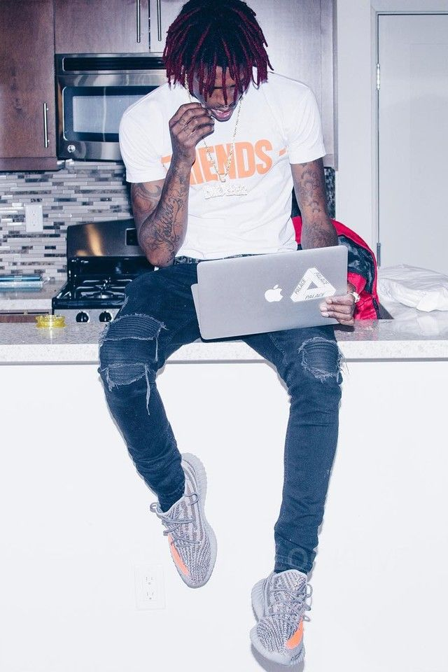 Famous Dex wearing  Adidas Yeezy Boost 350 V2 - BB1826, V Lone Friends T-Shirt, Apple Apple MacBook Air 13.3-Inch Laptop (256 GB)