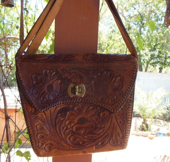 Vintage Mexican Hand tooled Leather Purse Handbag and Shoulderbag Hand  stitched Handmade Shabby Chic Cowgirl w detail 3325d6f305971
